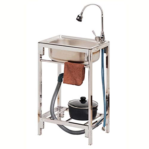 Einfaches Waschbecken aus Edelstahl mit Halterung Camping-Mobilspüle mit komplettem Abflusssystem Lagerregal für Küche und Wäsche drinnen und draußen