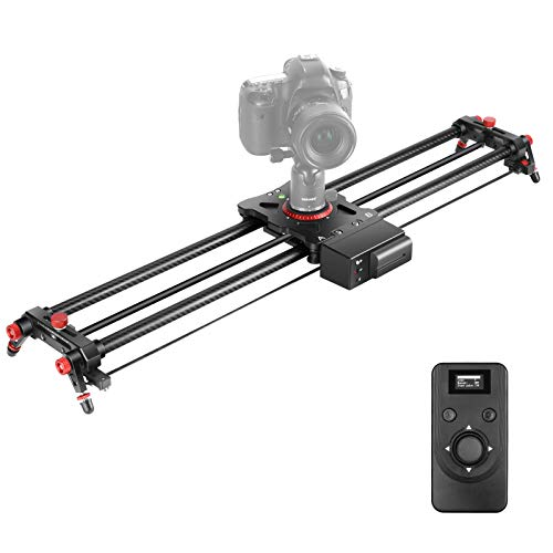 Neewer Motorized Camera Slider, 31.5-inch 2.4G Wireless Control Carbon Fiber Track Rail with Mute Motor/Time Lapse Video Shot/Follow Focus Shot/120 Degree Panoramic Shot for DSLRs, Load up to 22 lbs