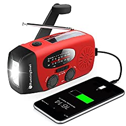 A emergency hand crank flashlight and radio