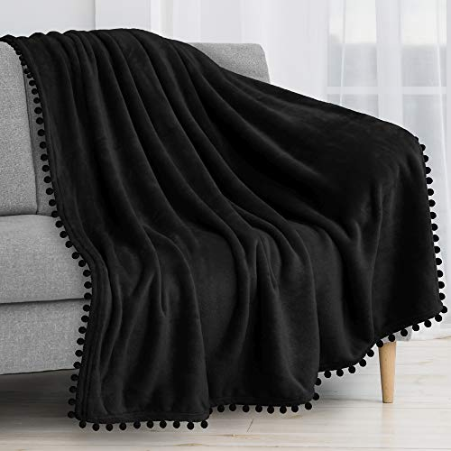 PAVILIA Fleece Throw Blanket with Pom Pom Fringe | Black...