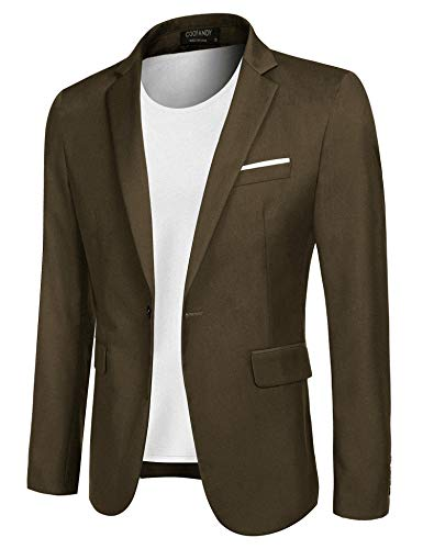COOFANDY Men's Casual Blazer Jacket Slim Fit Sport Coats Lightweight One Button Suit Jacket (Khaki, Medium)