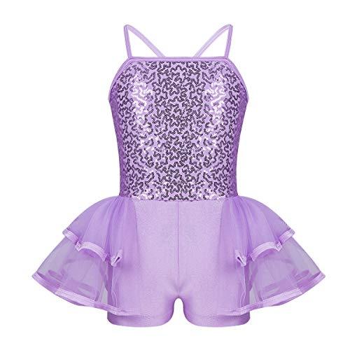 FEESHOW Kids Girls Sequined Ballet Dance Tutu Dress Leotard Skirt Princess Dancewear Party Outfit Costumes Lavender Tutu Shorts 7-8