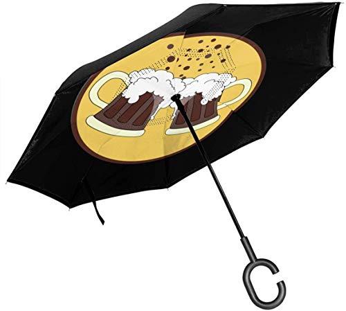 qinhanxinchengxianlibaihuodian Oktoberfest Bier-Auto-Rück Umbrella Double-Layer-UV-Schutz-windundurchlässiges Prevent Dripping Hands Free Inverted Sonne Regen Regenschirm