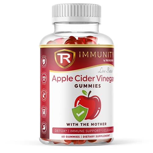 True Recovery Apple Cider Vinegar Gummies with Mother & Iodine   for Detox Cleanse, Weight Loss, Immune Support, Digestive Support   Vitamin B12, Beetroot   60 Count Elderberry Gummies