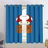 Cortina opaca aislante térmico mario Bros rojo seta caja cortinas opacas para dormitorio de niñas 2 paneles tratamiento de ventana conjunto de 72 x 63