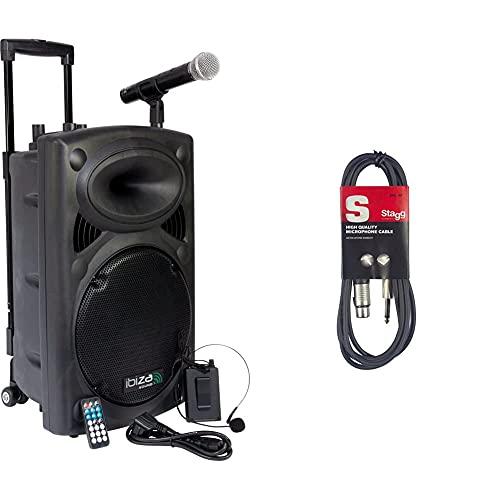 Ibiza Port12VHF-BT-WH Impianto audio portatile cassa attiva,700 Watt, ingressi USB SD MP3, 2 microfoni, cuffie, batteria, telecomando & Stagg SMC6XP Cavo Microfonico di Alta Qualità XLRf to Jack