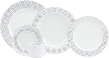 Serviço de Jantar e Chá, Porcelana Schmidt, Brasília Decoração Creta 5042 3 030 228 825 2340, Multicor, pacote de 30