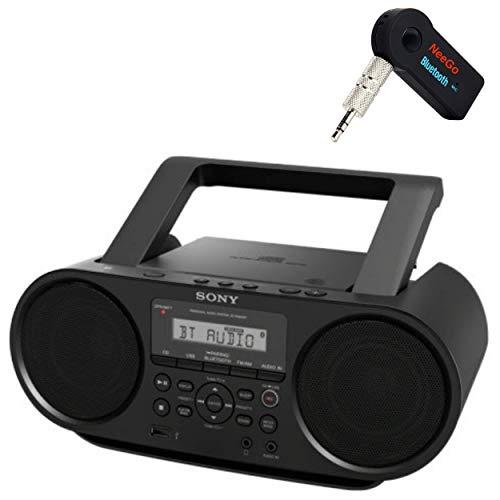 Sony Bluetooth Portable Cd Player Stereo Sound System Bundle Digital Tuner AM FM Radio Cd Player Mega Bass Reflex Stereo Sound System Included A NeeGo Wireless Bluetooth Receiver