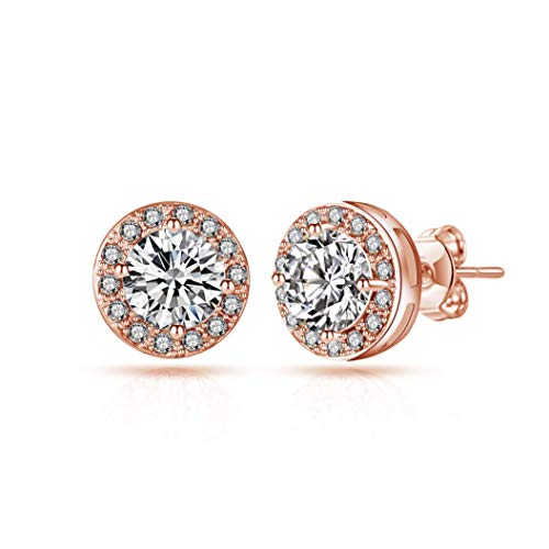 Rose Gold Halo Earrings Created with Austrian Crystals