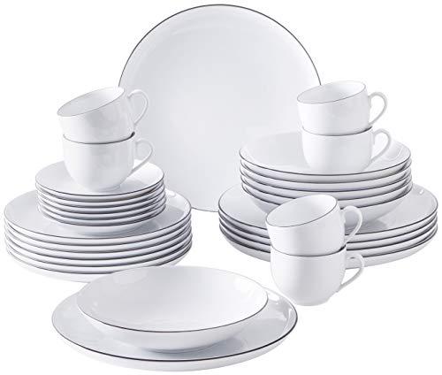 Kahla 050973O69896C Black Urban Line Geschirrset 30-teilig für 6 Personen Komplettset weiß schwarz rund Suppenteller großer Speiseteller Tassen Snackteller