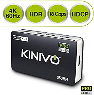Kinivo 550BN 4K HDMI Switch with IR Wireless Remote (5 Port, 4K 60Hz HDR, High Speed-18Gbps, Auto-Switching)