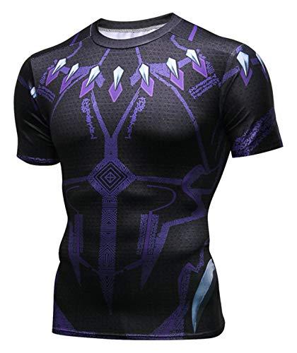 PIZOFF Unisex 3D Druck Kurzarm T-Shirt Muskelshirt Superhero Kampfanzug Black Panther AC109-01-L