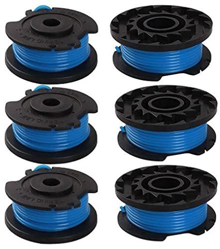 6 bobinas de hilo para desbrozadora Greenworks 29092 (1,65 mm de diámetro, 4,9 m de longitud individual), bobina de repuesto para cortador de hilo Greenworks de 24 V y 40 V