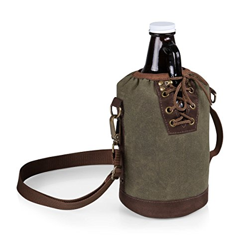 Canvas Lace up Growler Tote, 64-Ounce, Khaki Green