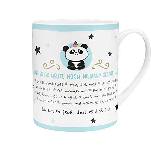 Die Geschenkewelt 45756 XL-Tasse im Panda-Design, Porzellan, 60 cl, mit Geschenk-Banderole, Blau