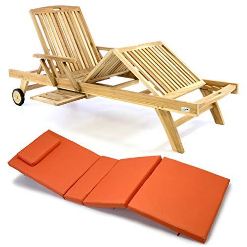 Nexos Divero Sonnenliege Holzliege Gartenliege Teak-Holz unbehandelt mehrfach verstellbar inkl. Räder Tablett + Liegen-Auflage 4-teilig wasserabweisend orange grün beige (Farbe wählbar) (Orange)