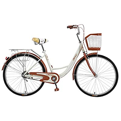 "Women's Classic Beach Cruiser Bicycle, 26"" Wheels, White with Black Seat and Grips-?U.S. Shipping? (White)"