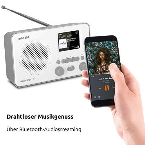 TechniSat TECHNIRADIO 6 IR - portables Internetradio (DAB+, UKW, WLAN, Bluetooth, Farbdisplay, Wecker, App-Steuerung, Favoritenspeicher, 3 Watt RMS) grau/weiß