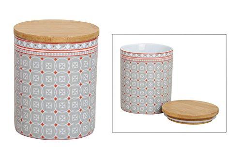 Vorratsdose Retro Look Vorratsbehälter Kaffeedose Teedose Porzellan mit Deckel Bambus Vintage Universaldose grau rosa (Grau)