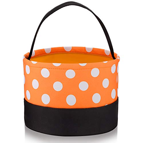 Halloween Trick or Treat Bags Halloween Candy Buckets Tote Bags Orange Black with White Polka Dots Halloween Party Favor Bags for Halloween Supplies