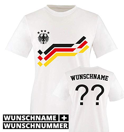 EM 2016 - Retro-Trikot - WUNSCHDRUCK - Kinder T-Shirt - Weiss/Schwarz-Rot-Gelb Gr. 134-146