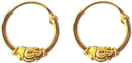 Certified Solid 22K/18K Yellow Fine Gold Divine Design Hoop Earrings Available In Both 22 Carat And 18 Carat Fine Gold, For Women,Girls,Kids,Gifts,Bridal,Wedding,Engagement & Celebrations