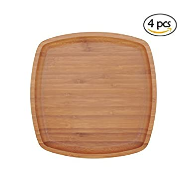 BambooMN 8  x 8  Bamboo Ecoware Reusable Dinnerware Square Plates for Catered Events, Holidays, or Home Use Supplies, 4 Pcs