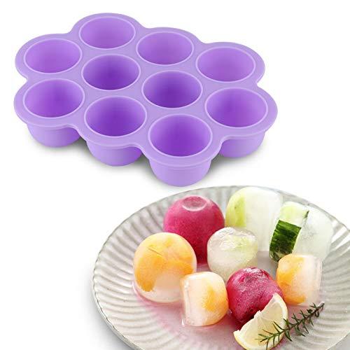 Emoshayoga Recipiente Reutilizable Bandeja de congelador de Alimentos para pequeños Pudding Pops Ice Cube Maker Congelador de Alimentos para bebés(Purple)