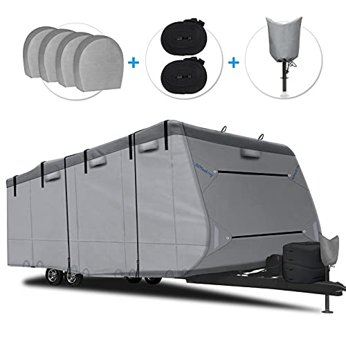 RVMasking 2021 Upgraded 6 Layers Top Travel Trailer RV Cover Windproof Camper Cover Up to 34'1''-37' RVwith 4 Tire Covers Tongue Jack Cover - Anti-uv Prevent Top Tearing Caused by Sun Exposure