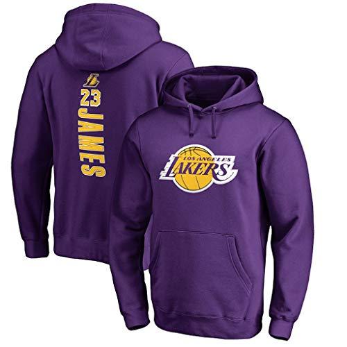 Herren Pullover Sweatshirt, Lakers James 23# Sport Pullover Basketball Training Schweiß, Beiläufige Mit Kapuze Strickjacke Für Unisex,Lila,XXL(180/190cm)