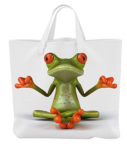 Merchandise for Fans Einkaufstasche - 45 x 42 cm x 9,5 cm, 18 Liter - Motiv: 3D Comic Frosch bei Yoga/Meditation - 01