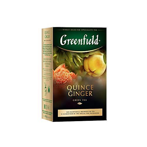 Greenfield Quince Ginger, Aromatised Green Tea, Aromatisierter Grüner Tee, Ingwer, Quitte, Ringelblume, loser Tee, 100g