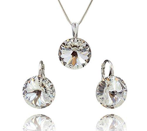 Crystals&Stones - Juego de pendientes y colgante con collar Rivoli, en plata de ley 925 y cristales auténticos de Swarovski Elements - con caja
