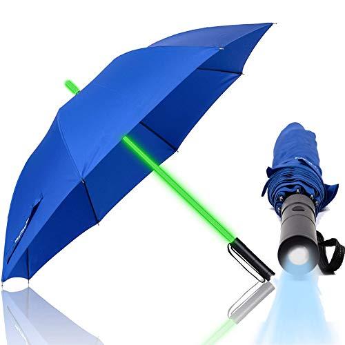 StockschirmeRegenschirm Kinder Led Regenschirme Lichtschwert Regenschirm, Premium-windundurchlässiges Golf Griff Regenschirm, Taschenlampe, 7 Farbwechsel-Effekte,Blau