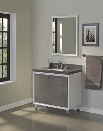 Fairmont Designs 1531-V36 Park Central 36 Contemporary Vanity in Glossy White/Silvered Oak