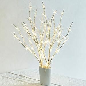 Hairui 白樺 ブランチ 枝 LED イルミネーション 電池式 高さ45cm 70led 卓上 ライト テーブルトップ 北欧風 インテリア オシャレ 白い(花瓶が含まない)