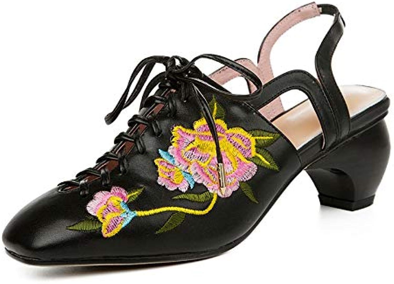 MENGLTX Brund New Big Größe 33-43 StickenSchnürenEchtes Leder Schuhe Frau Casual Party Ol Sommer Sandalen