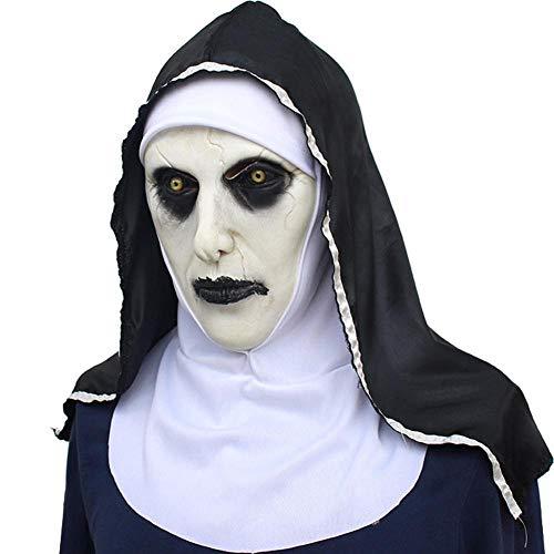 XWYWP Máscara de Halloween La monja Máscara de Terror Halloween Party The Conjuring Valak Scary Latex Máscaras con pañuelo 1
