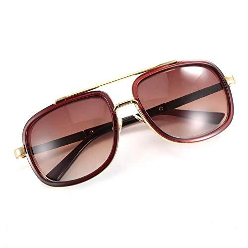 Gafas de sol unisex con lentes transparentes, montura redonda, para la familia, para oficina(Tea frame)