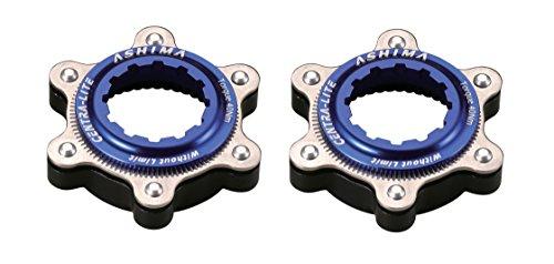 Ashima 2X Adapter für Shimano Centerlock auf is 6 Loch Bremsscheibenaufnahme Centra Lite blau