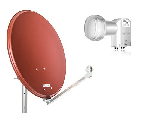 RED OPTICUM QA60 - Antenna satellitare con Twin LNB (60 cm), colore: Rosso mattone