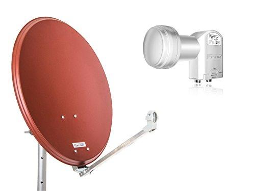 Opticum Stahl QA60 - Antena parabólica con LNB Dual, 60 cm de Color Rojo ladrillo