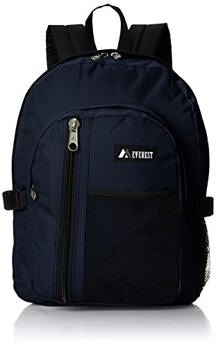 Everest Backpack with Front Mesh Pocket, Navy, One Size