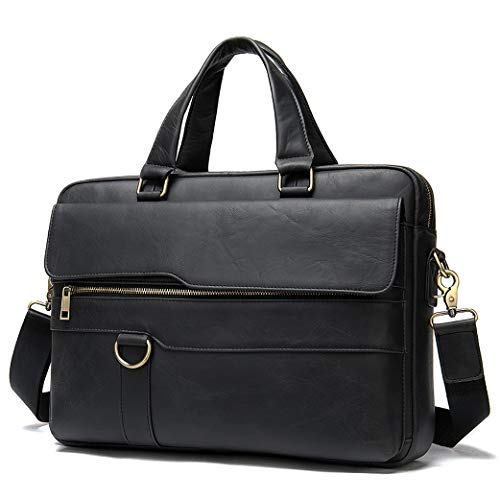 GYL-JL Black Men's Briefcase Genuine Leather Satchel Bags 15 Inch Laptop Bag Handbag Business Shoulder Bags Briefcase Men Bag (Color : Black, Size : 15inch)