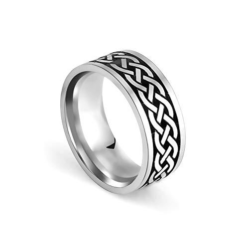 VASSAGO Runes Celtic Knot Futhark Flower Anillo grabado Anillo Wiccan para hombres y mujeres (estilo 2, 19mm)