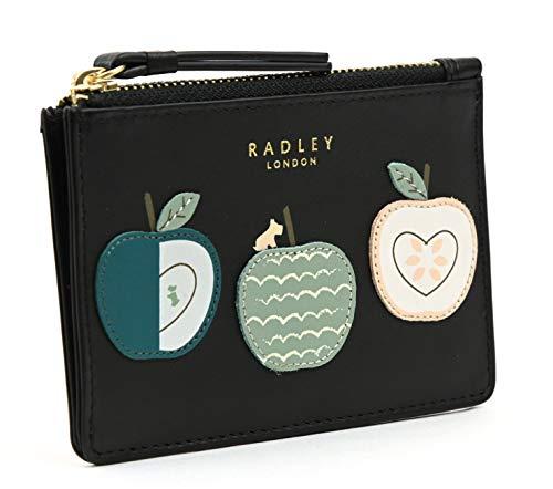 Radley Geldbörse aus Leder, mit Reißverschluss und Aufschrift an Apple a Day Gr. 36, Schwarz