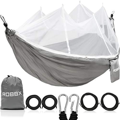 ROBBX® Hängematte Outdoor mit Moskitonetz für 2 Personen - 300kg Traglast Doppelhängematte mit Befestigung - Hängematten Camping
