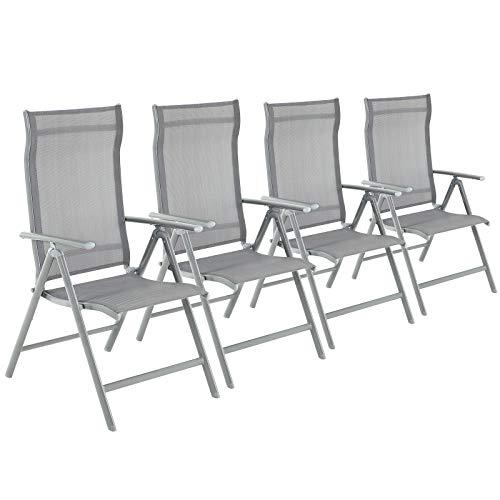 SONGMICS Gartenstühle, 4er Set, Klappstühle, Outdoor-Stühle mit robustem Aluminiumgestell, Rückenlehne 8-stufig verstellbar, bis 150 kg belastbar, grau GCB30GY