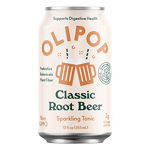 OLIPOP - Classic Root Beer Sparkling Tonic, Healthy Soda, Prebiotic Soft Drink, Aids Digestive Health, Contains Prebiotics & 9g of Plant Fiber, Caffeine Free, Low Calorie, Low Sugar (12 oz, 12-Pack)
