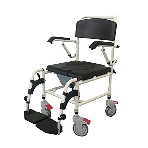 AMAZOM Shower Bedside Commode Chair Padded Seat with Wheels, Medical...